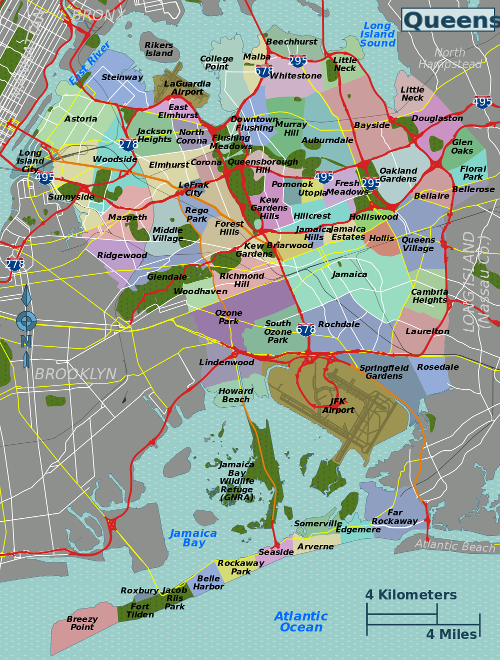 Queens Map by Towns
