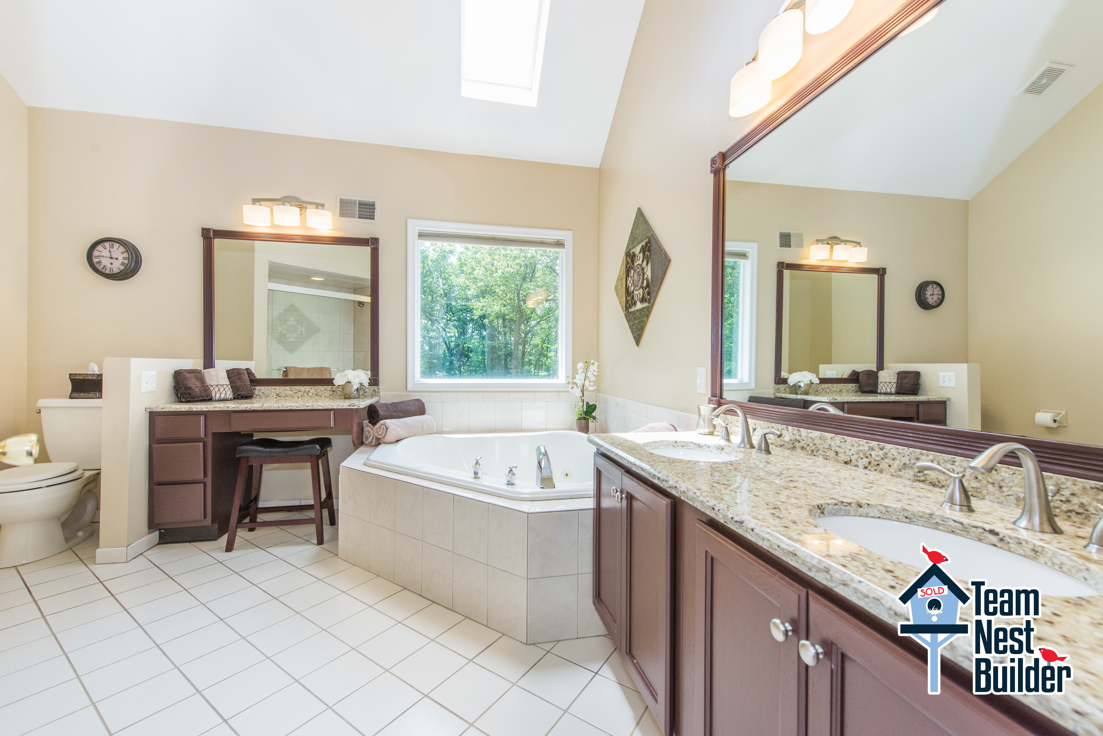 Skylit master bathroom