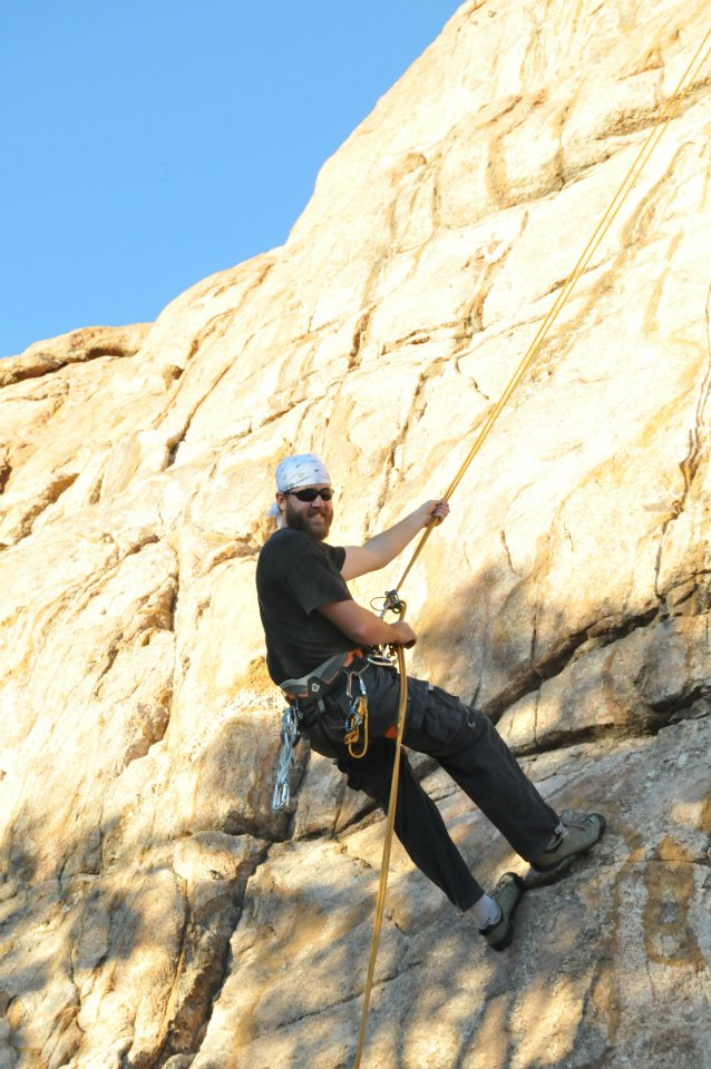 Me climbing at Time Zone Wall, Watson Lake, Prescott AZ