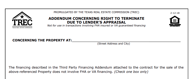 Addendum Concerning Right to Terminate Due to Lender's Appraisal