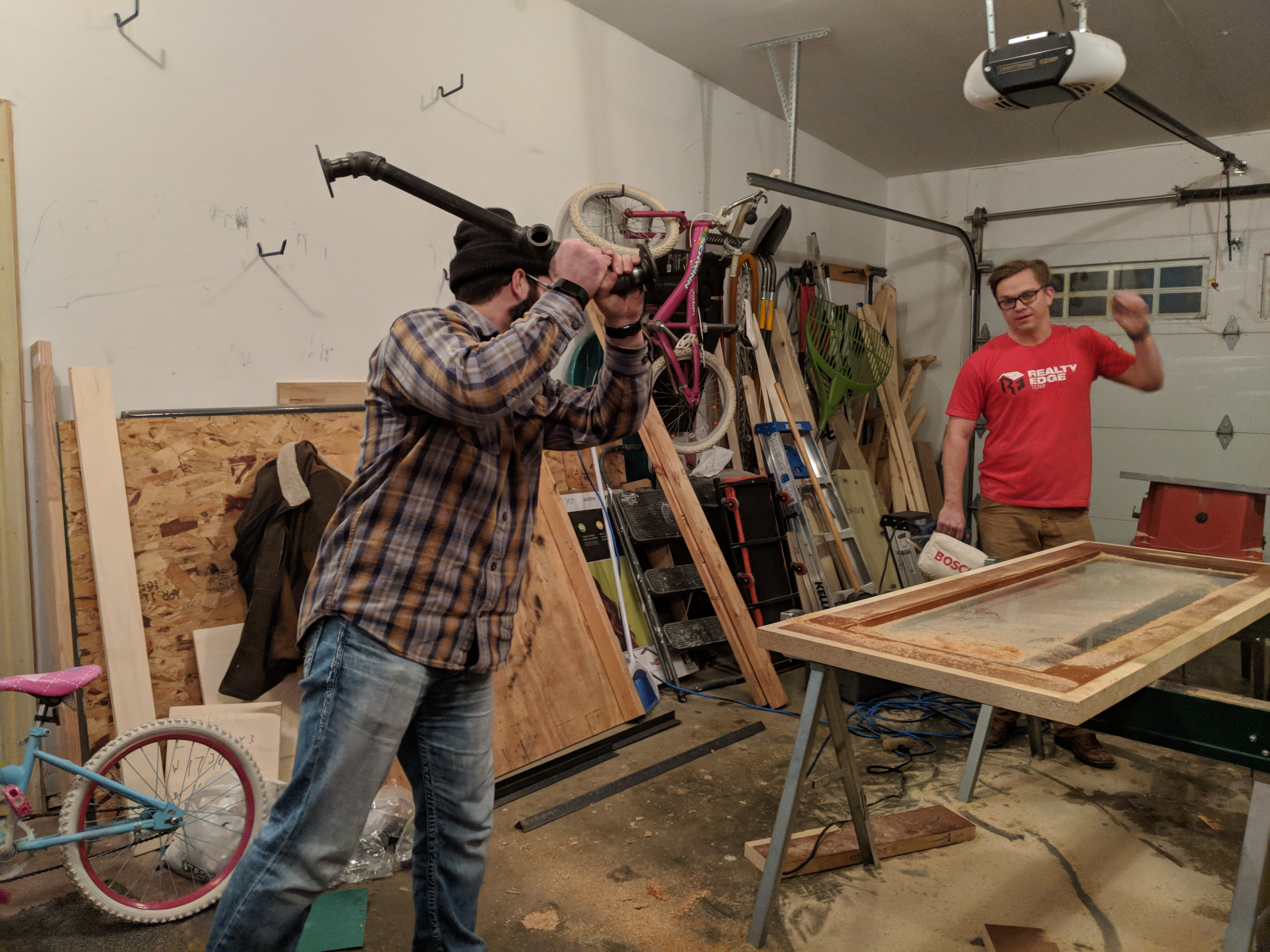 Dan & Kyle working on the Doors & Windows Unhinged Project for the RAB Home Show