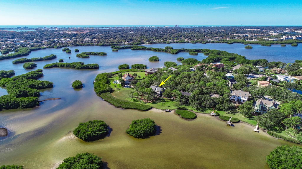 Aerial View of Home and Bayou