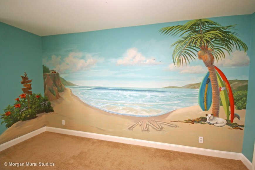 Creative wall designs for kids rooms for Beach scene mural