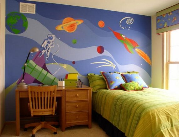 Boys Bedroom Space Mural - Lisa Birdsong