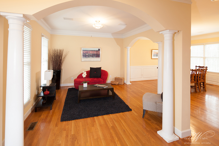Living Room and Dining Room with custom columns and arches