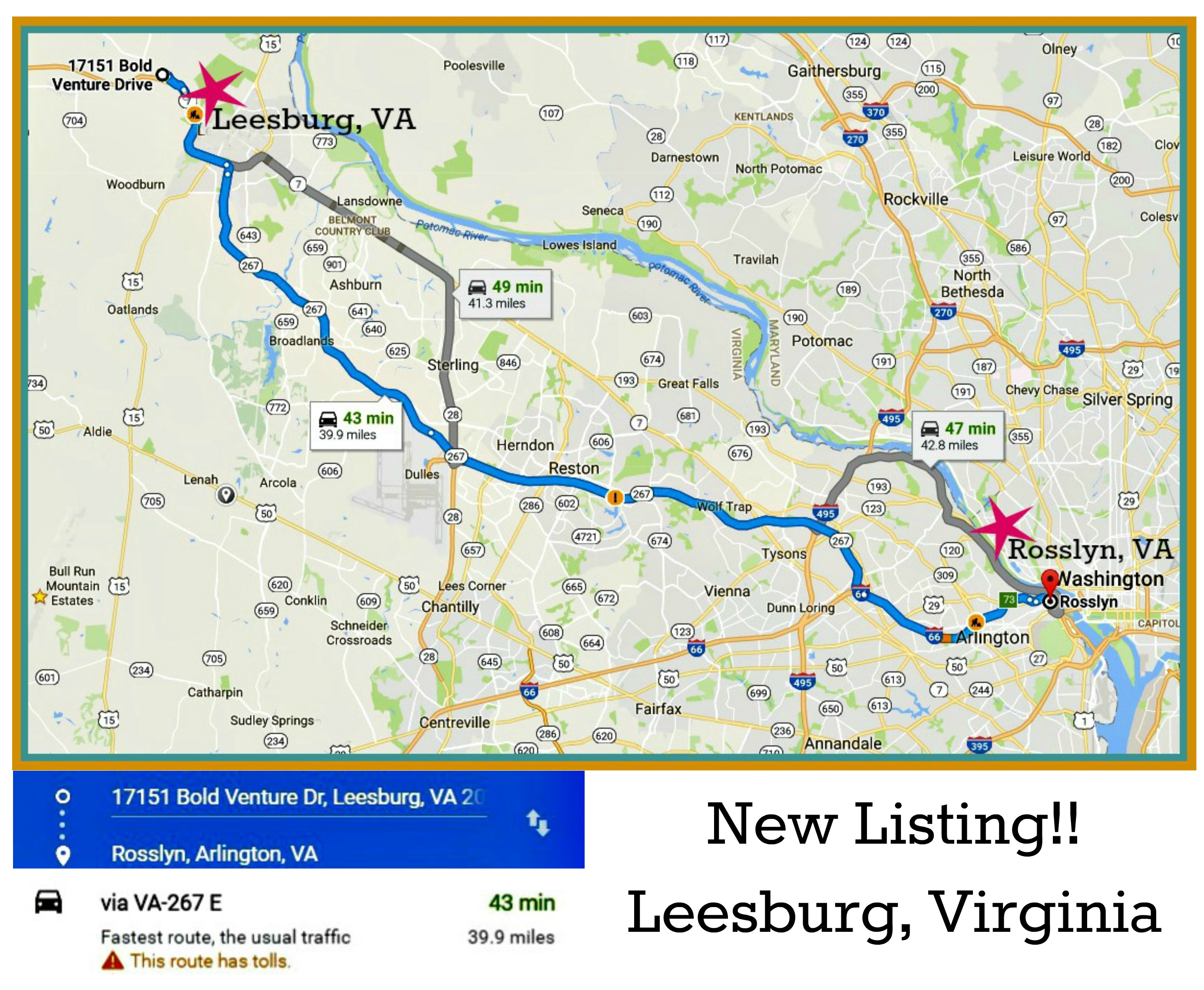 Driving Directions from Leesburg, Virginia to Washington, DC