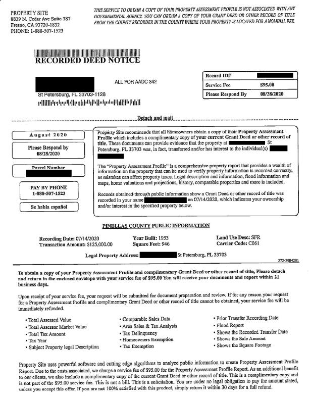 Fake Deed Bill/Request