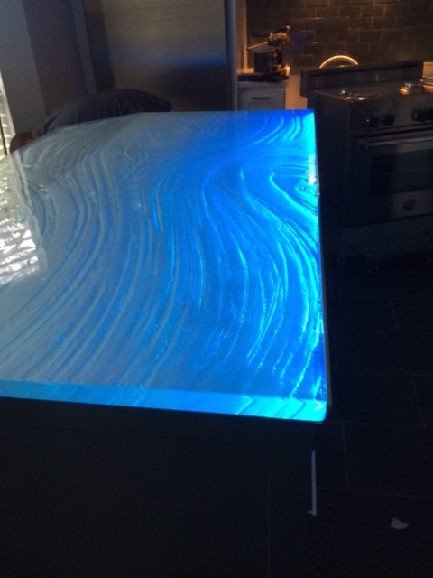 LED Lit Glass Countertop