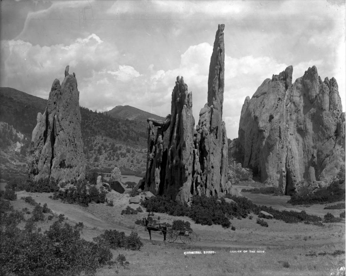 Image titleA horse and buggy on a trail in front of the Cathedral Spires rock formations, Garden of the Gods, Photo courtesy of Western History and Genealogy Dept., Denver Public Library