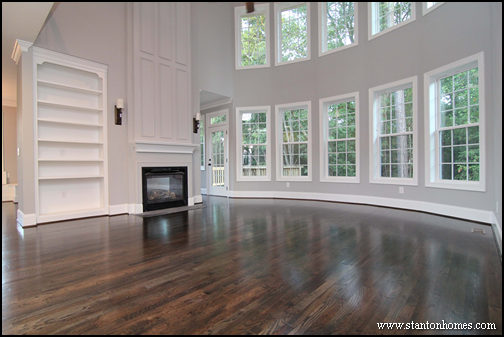 Two Story Family Room Light Gray Walls