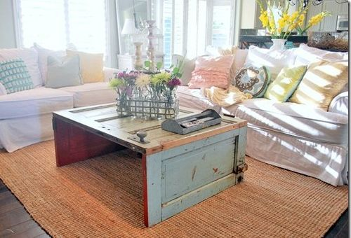 Table made from old doors.