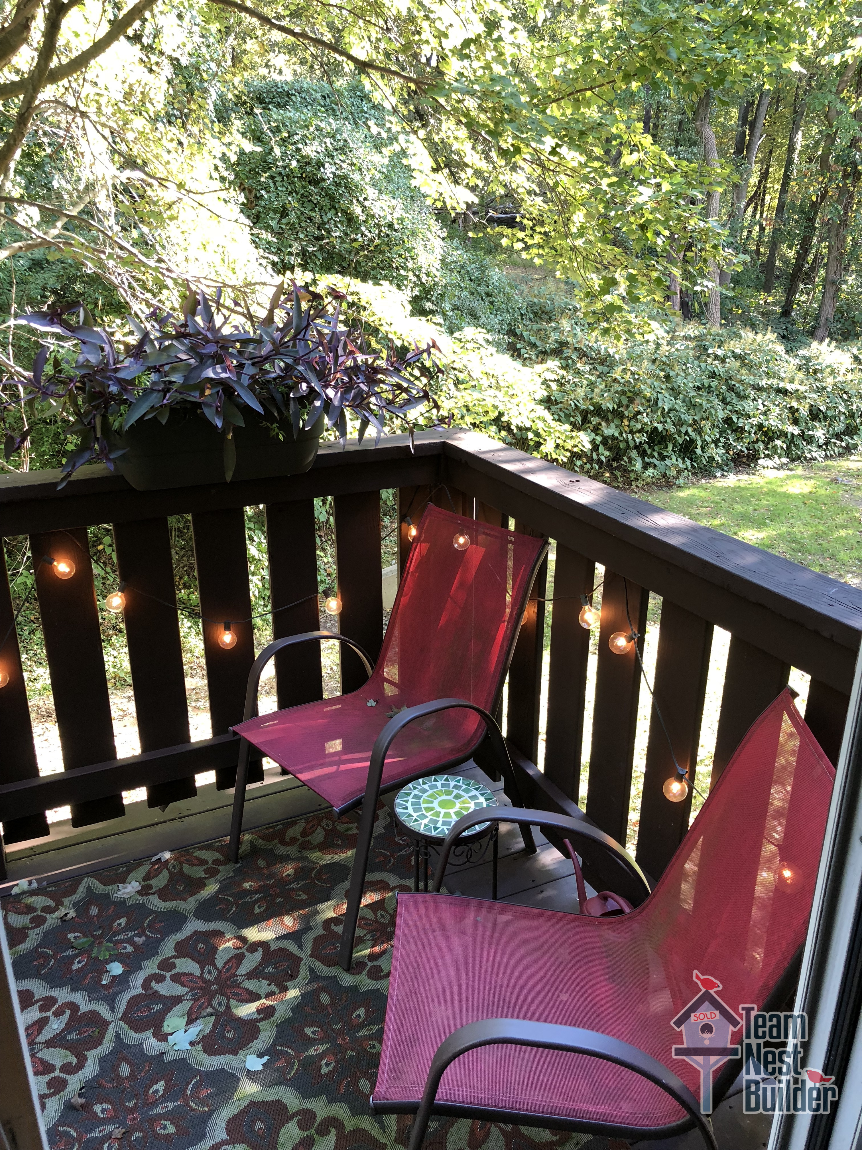 Private deck with wooded views