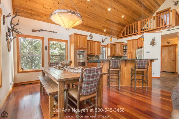 Homes in Tahoe Donner CA - Whether it is a simple gathering of friends or a catered party gathering, the dream kitchen of this Tahoe Donner home delivers!