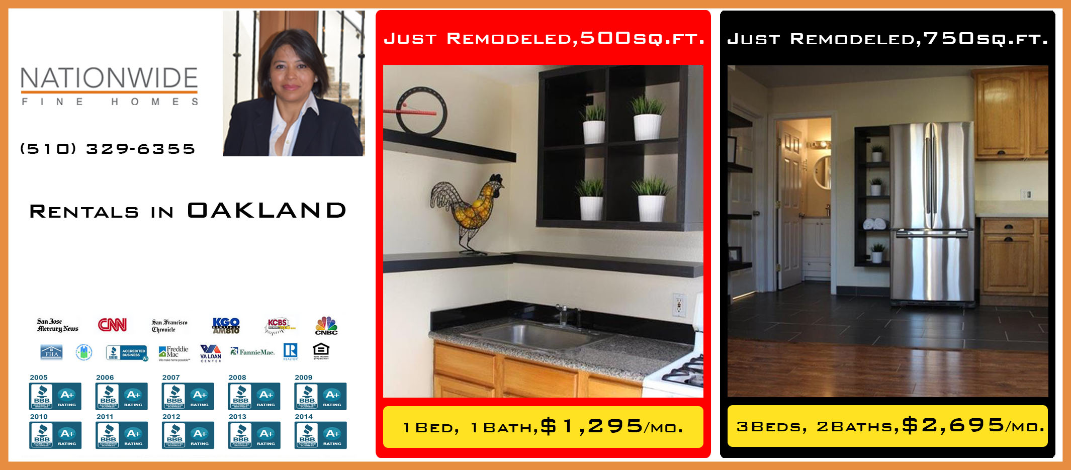 Just Remodeled Rentals in <a href='https://www.searcheastbay.com/index.php?types[]=1&types[]=2&areas[]=city:Oakland&beds=0&baths=0&min=0&max=100000000&map=0&quick=1&submit=Search' title='Search Properties in Oakland'>Oakland</a>