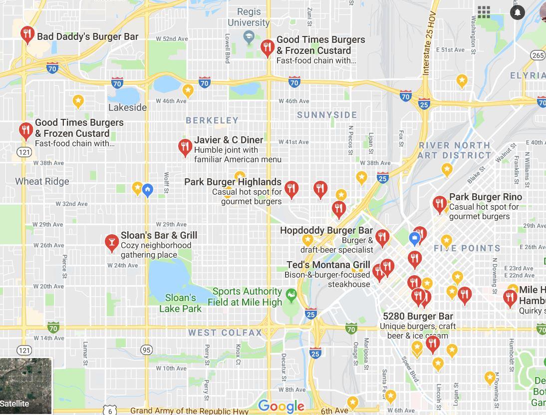 Treasure Map of the Best Dener Burgers