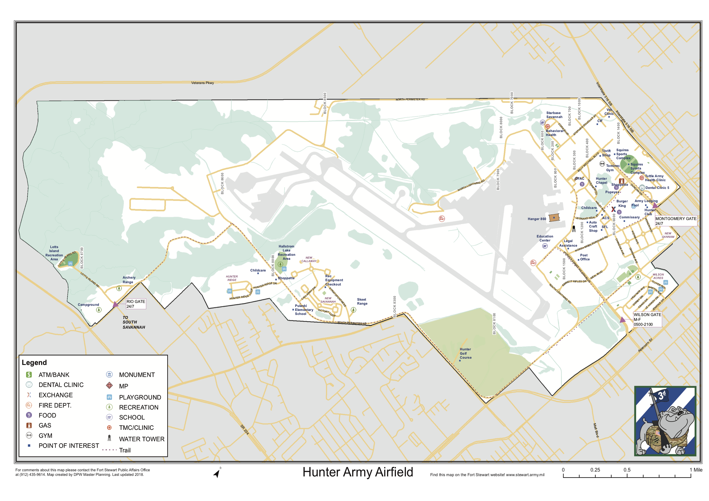 Map Of Hunter Army Airfield In Savannah Georgia