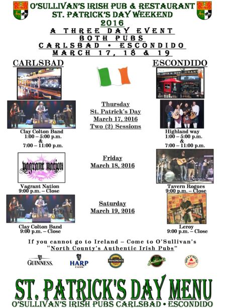 Click for O'Sullivan's St Patty's Day Event Info