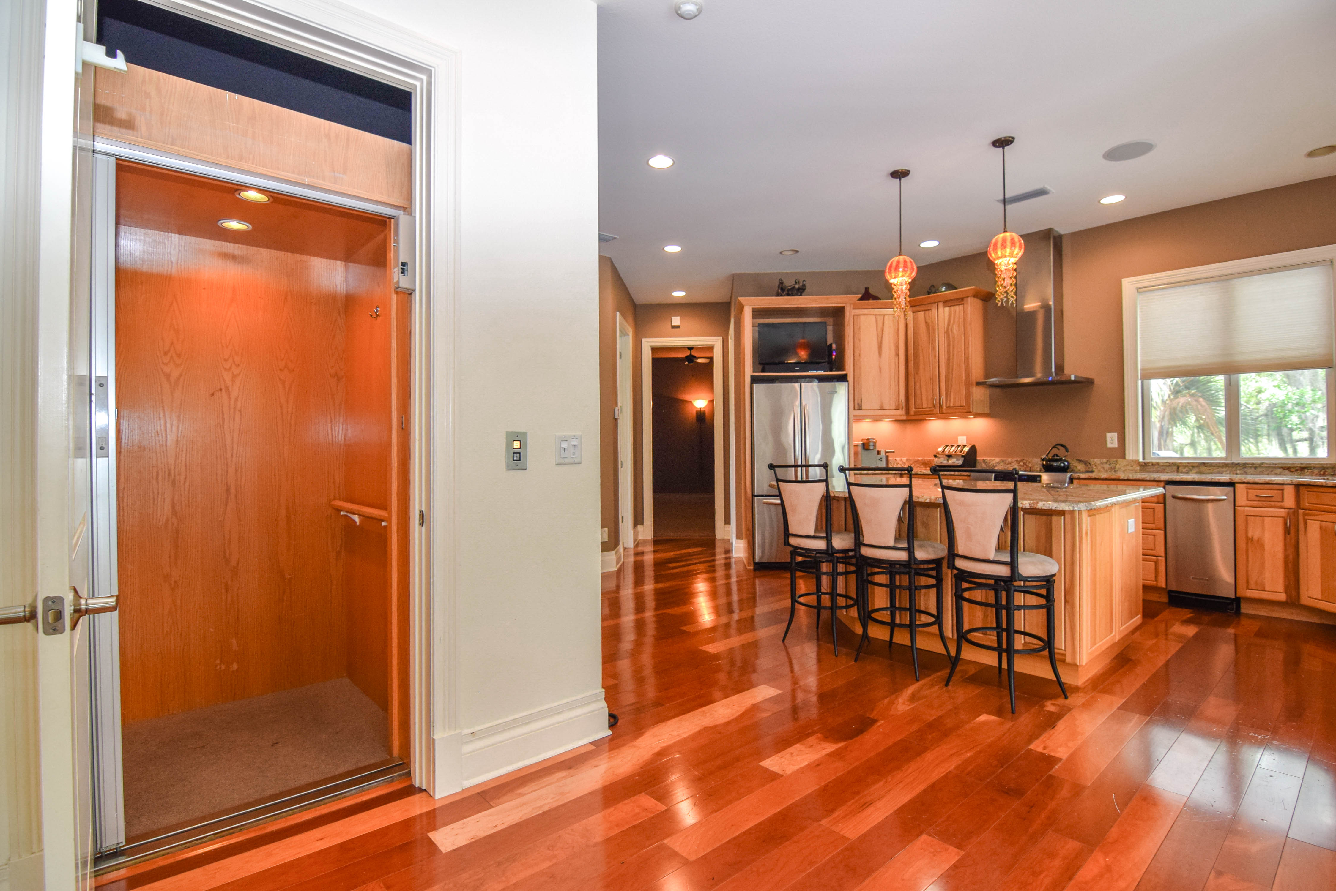 Elevator and Open-Concept Kitchen