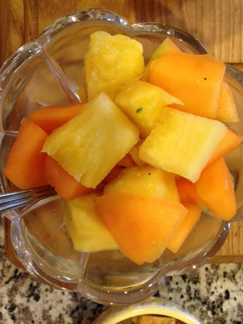 Pineapple and cantaloupe.