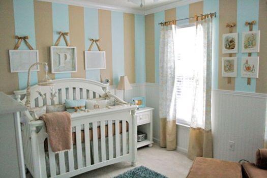 Blue & Tan Striped Nursery