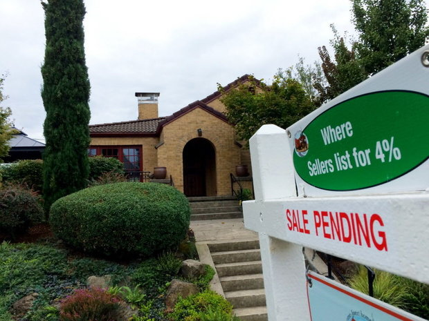 """A home for sale in North Portland with a """"sale pending"""" sign. (Elliot Njus/The Oregonian)"""