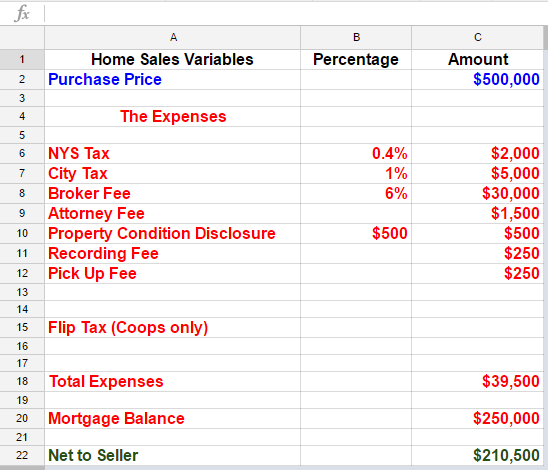 Net To Seller Closing Cost Worksheet