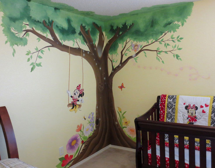 Minnie Mouse Tree Swing Wall Mural