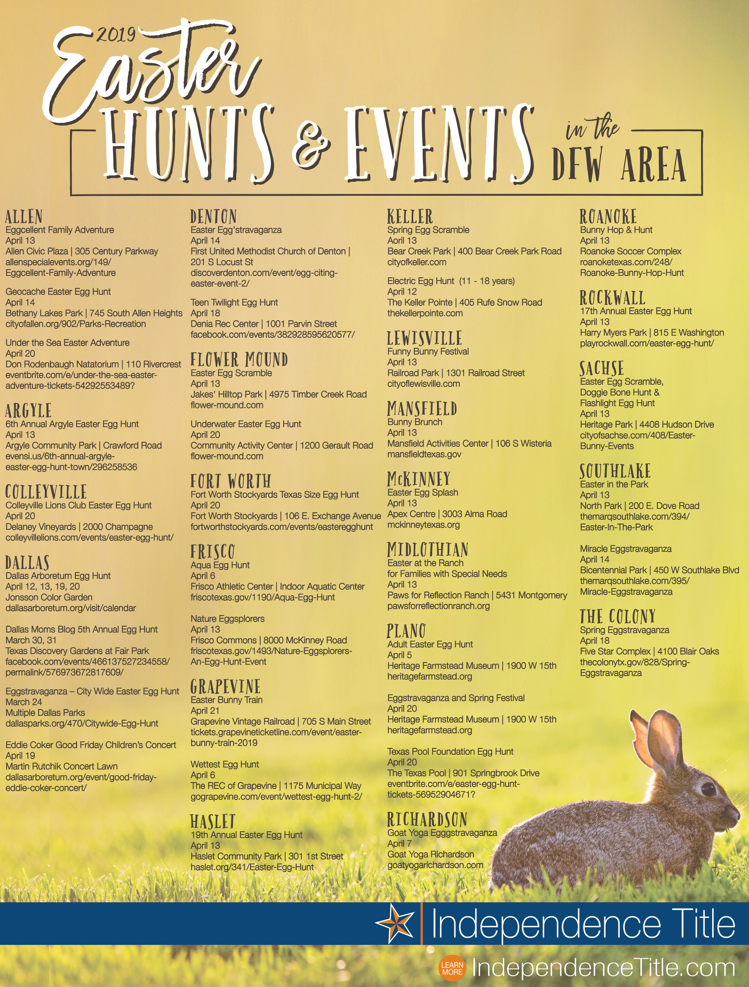 2019 Easter hunts and events in the dfw area