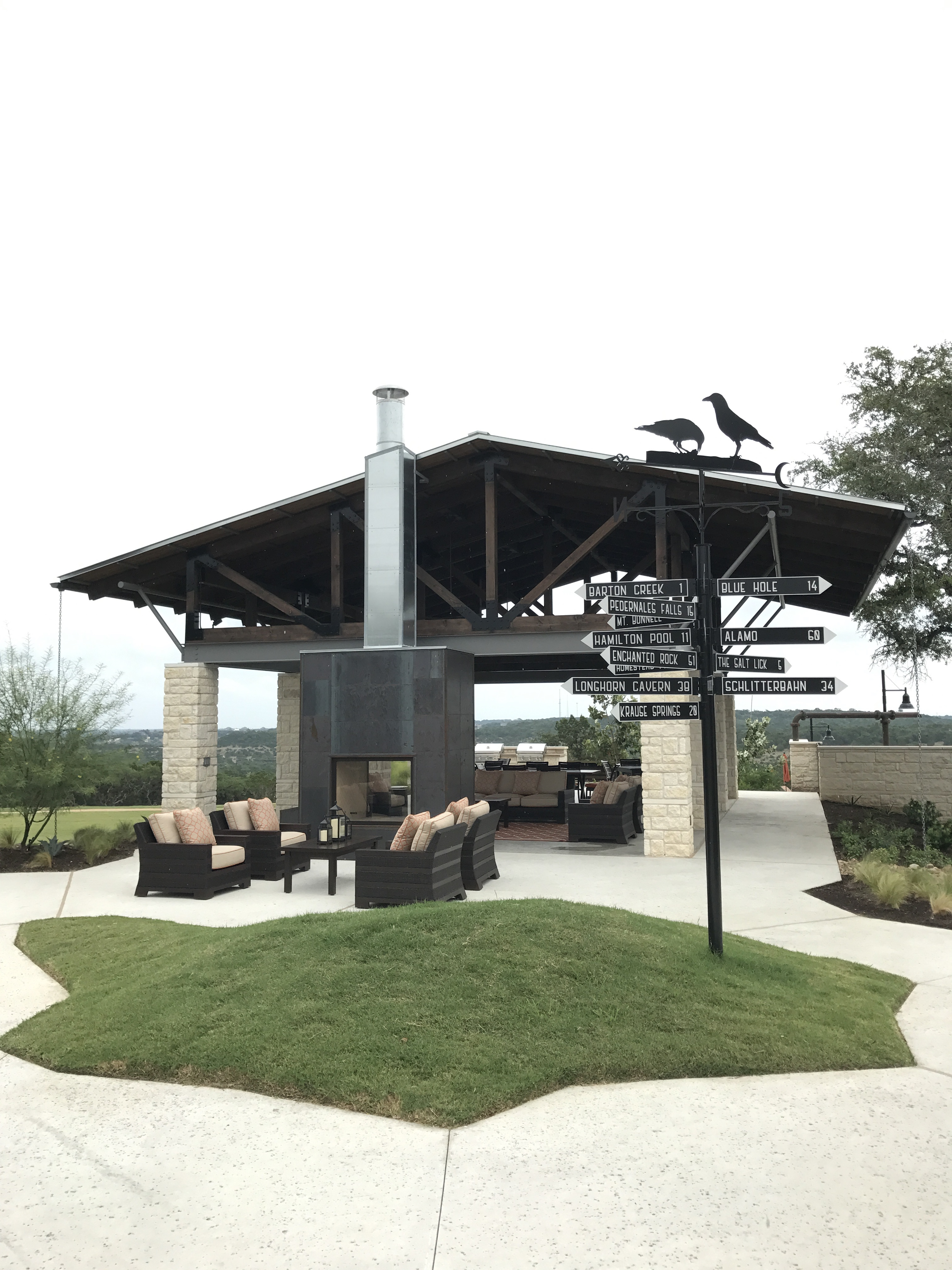 An outdoor area of the amenities center. Cozy!