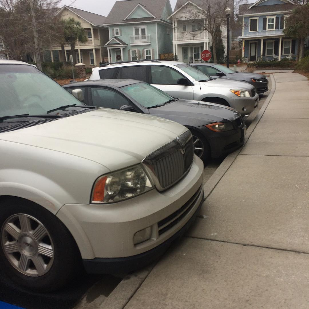 Flanagan Home Team - our cars/trucks lined up at the office the morning before the snow began.