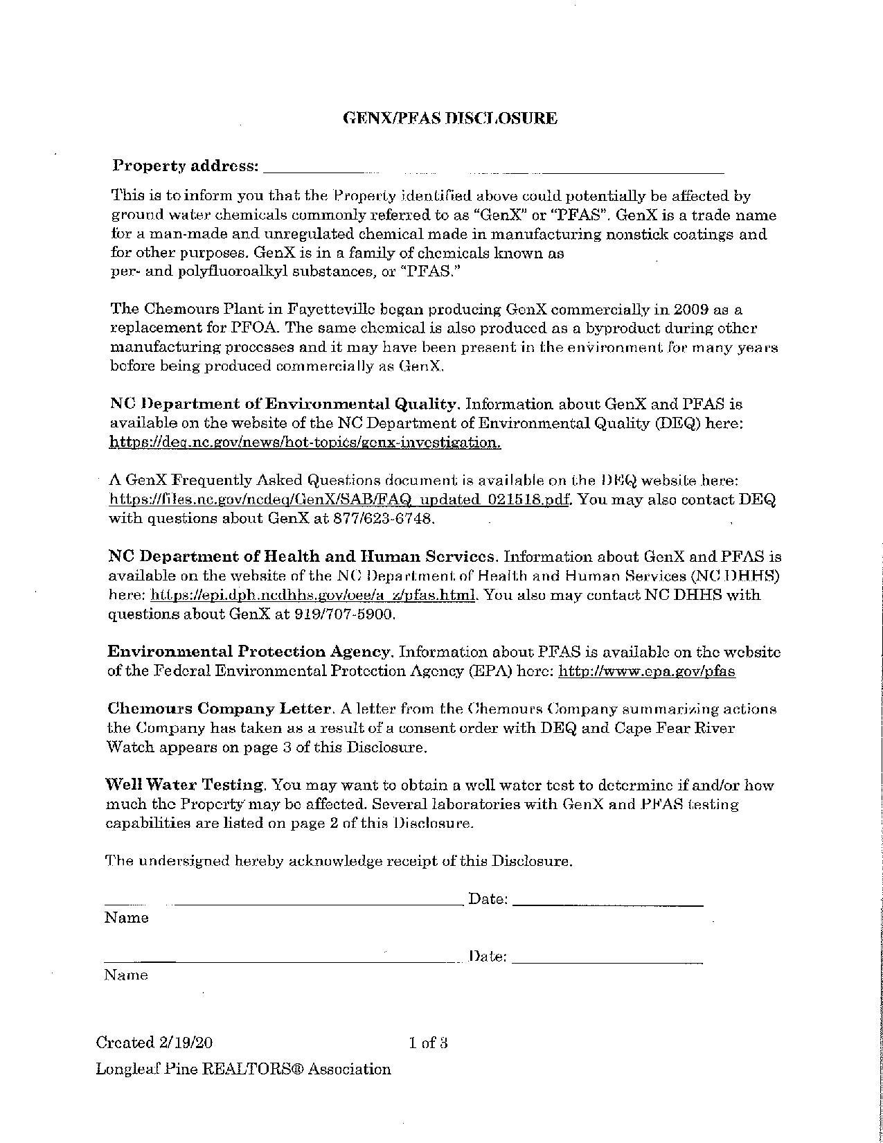 PFAS Disclosure