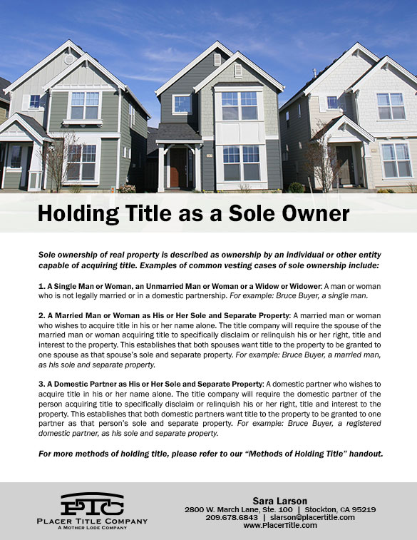 Holding Title as a Sole Owner