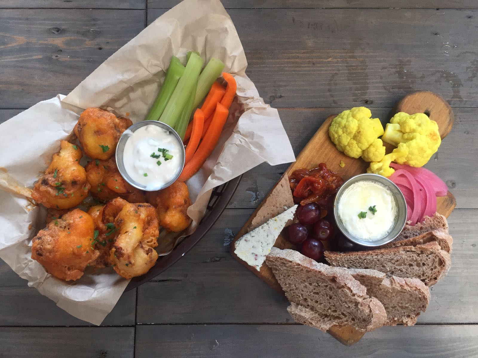 Cauliflower wings and Ploughman's Plate