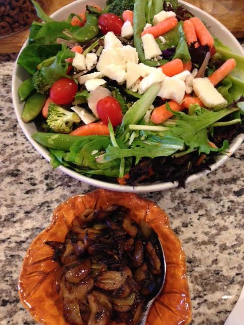 Salad and mushrooms.