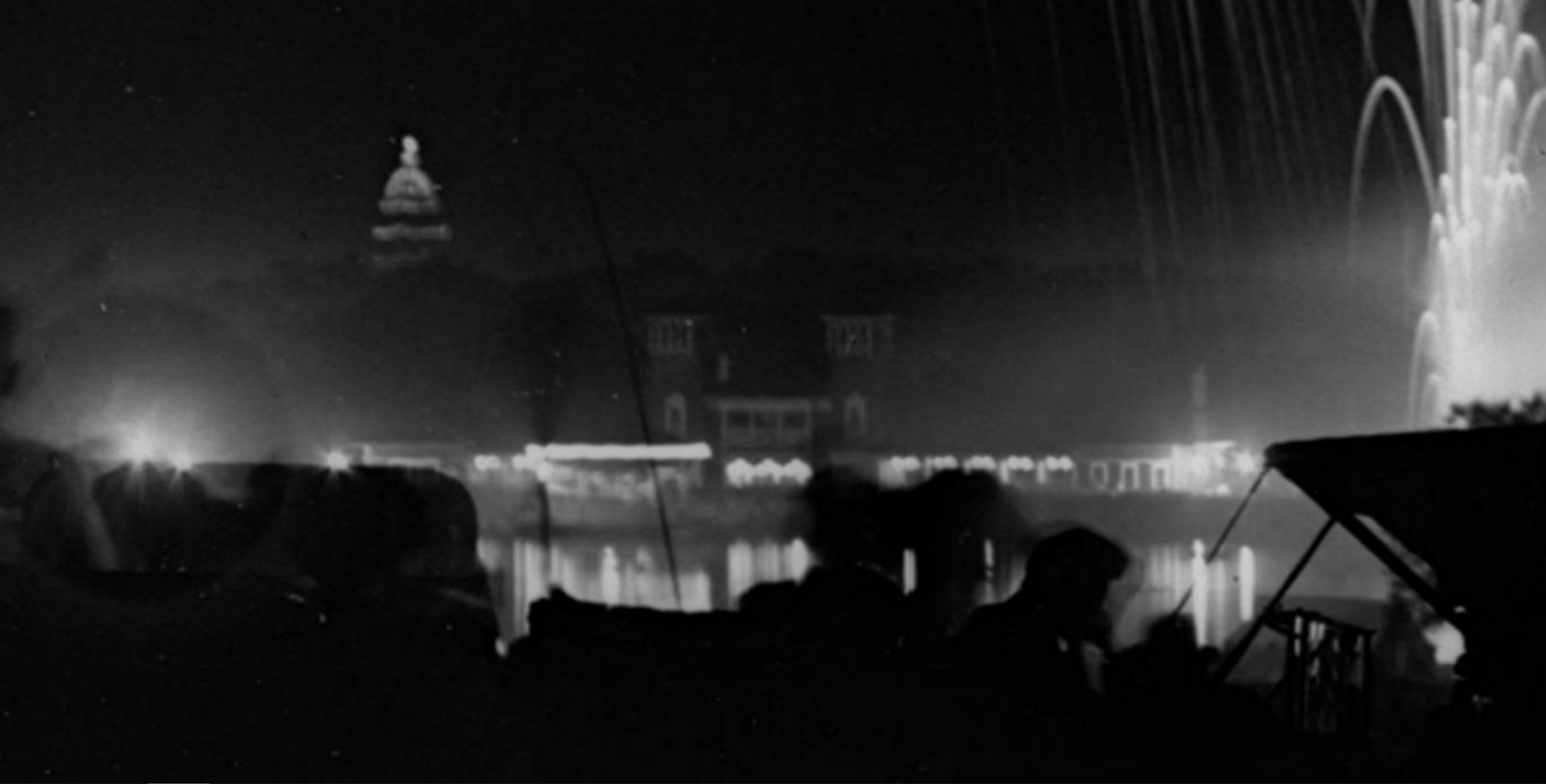 State Capitol at night from City Park, 4th of July Celebration. c,1940