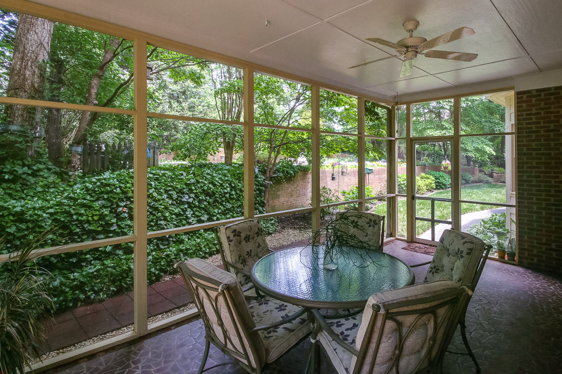 Relax in the screened in porch