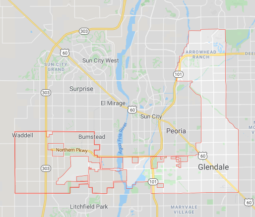 Map of Glendale, Arizona