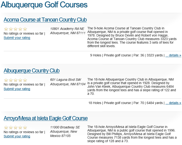 Albuquerque Golf Courses