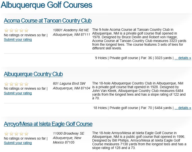 Albuquerque Golf Courses
