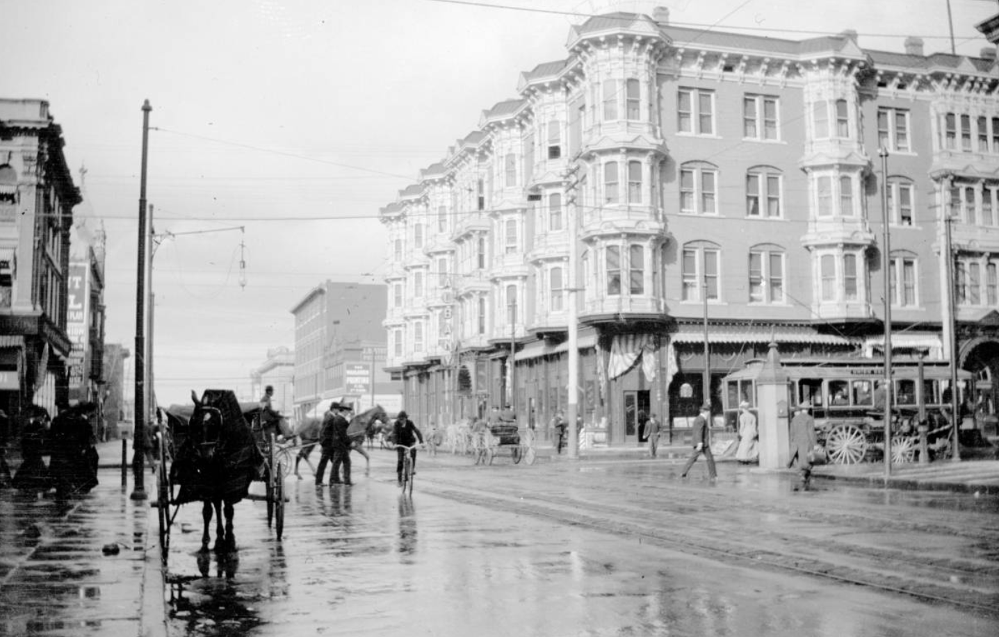 Rain on 17th Street Denver CO 1900's