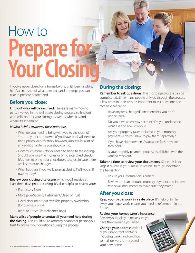 Prepare for closing