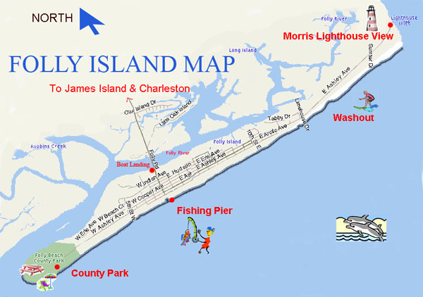 Folly Beach on the map