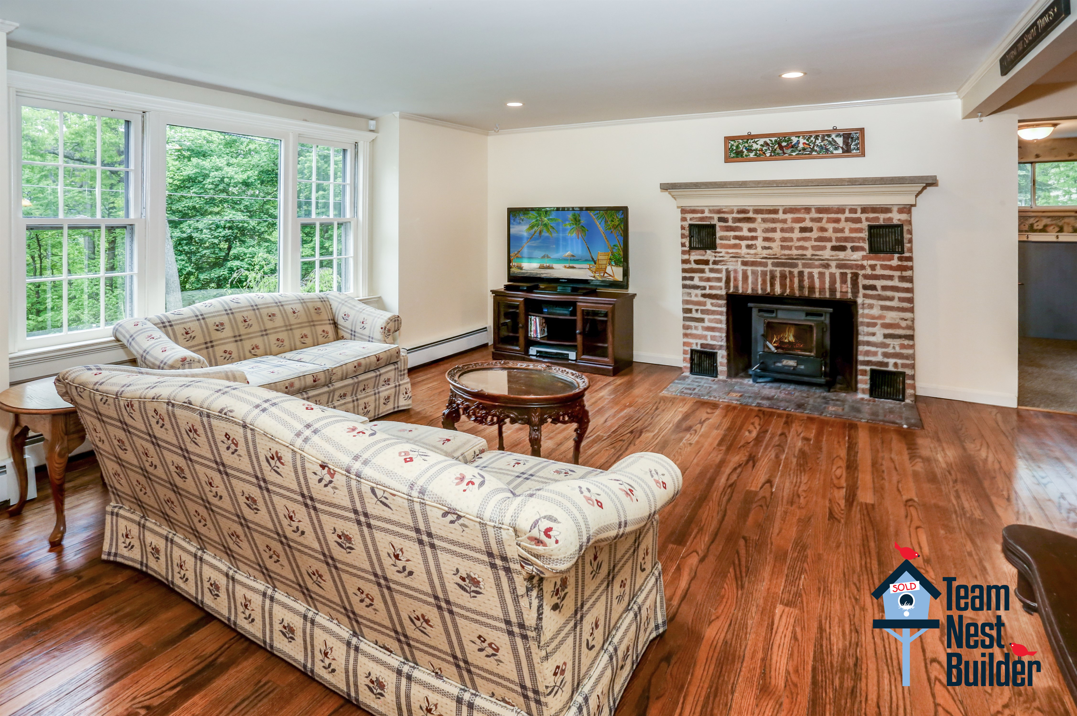 Cozy up in front of the living room fireplace