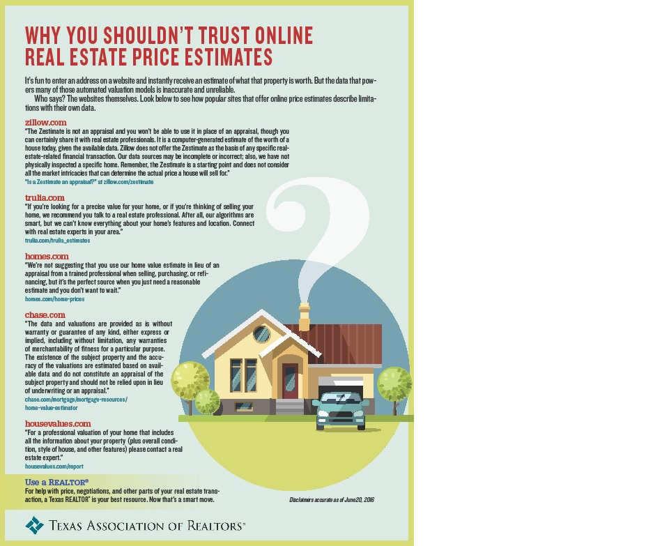 WHY YOU SHOULD NOT TRUST ONLINE REAL ESTATE PRICE ESTIMATES