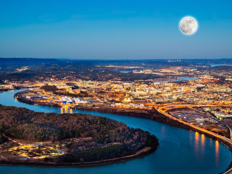 sky view of downtown chattanooga