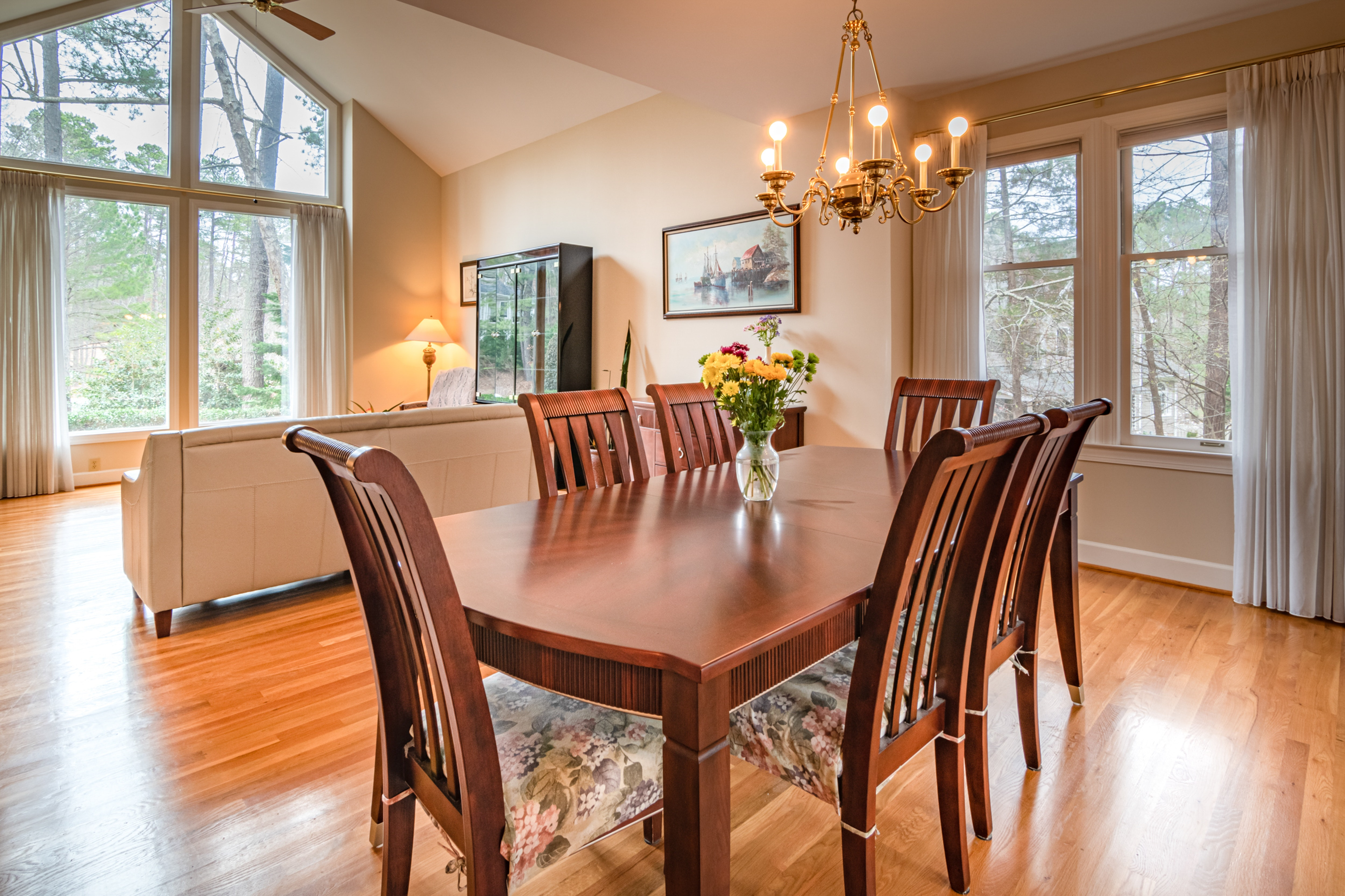 formal dining room with wooden table and 6 wooden chairs