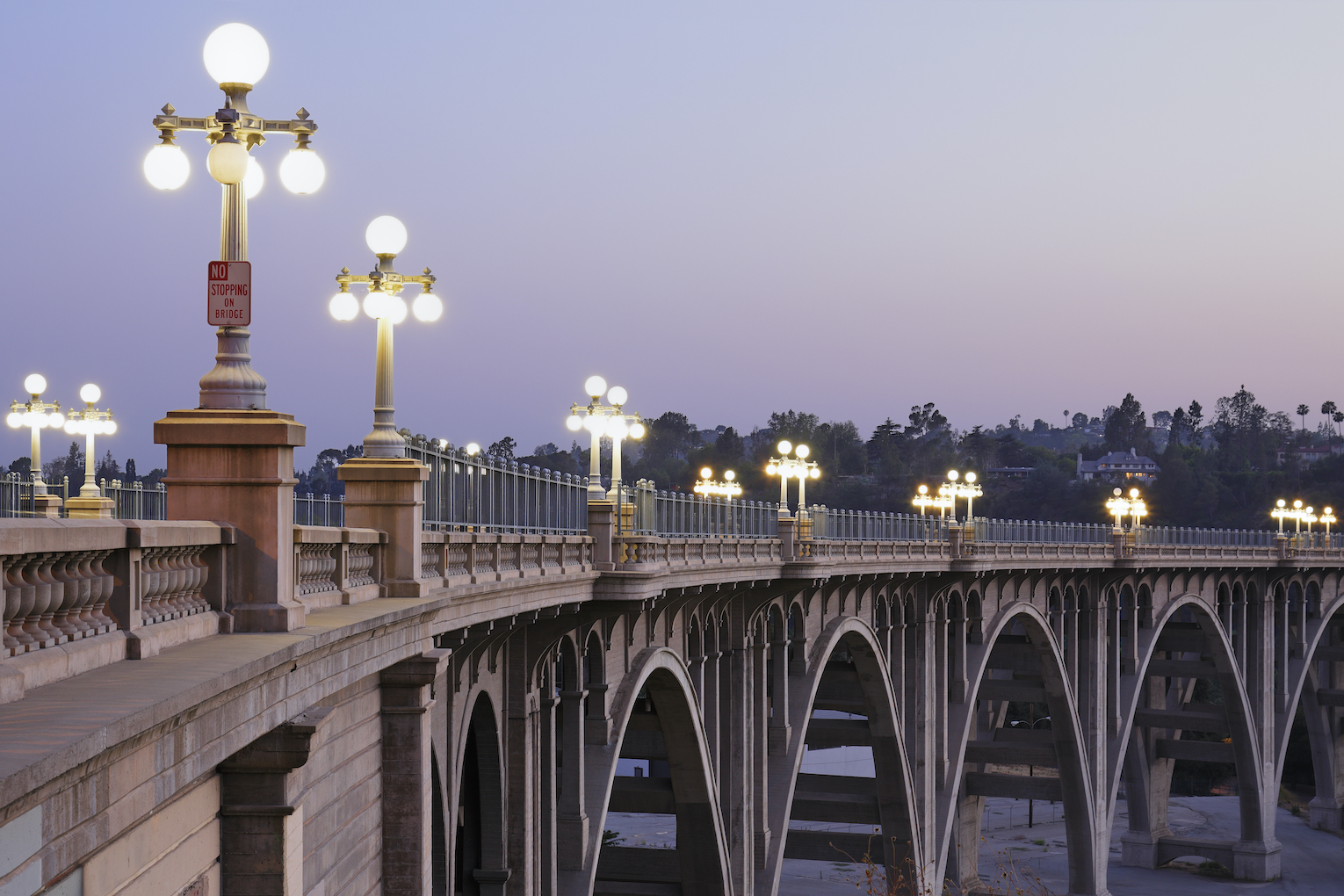 Bridge with lights in Pasadena