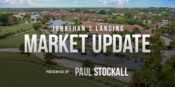 Jonathan's Landing Market Update banner with clubhouse in the background