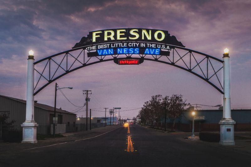 fresno city sign overhead on city street