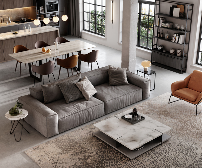 large living space with gray couch and coffee table